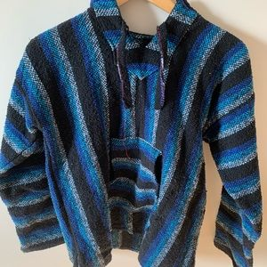 Blue and black striped hoodie